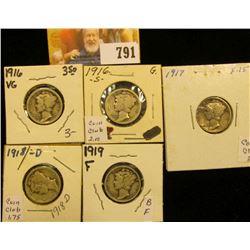 1916 P, S, 17 P, 18 D, & 19 P Mercury Dimes, grades up to Fine.