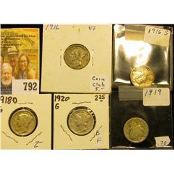 1916 P, S, 18 D, 19 P, & 20 P Mercury Dimes, grades up to Very Fine.