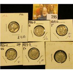 1916 P, 16 S, 19 D, 20 S, 23 P, & 23 S Mercury Dimes, grades up to Fine.