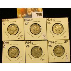 1919 D, 20 S, 23 S, 24 P, 24 D, & 24 S Mercury Dimes, grades up to Very Fine.