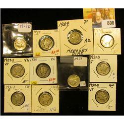 1927 D, 28 S, 29 P, D, S, 30 P, 31 P, D, S, 34 P, & D Mercury Dimes, grades up to VF.