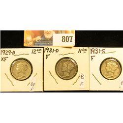 1929 D, EF; 31 D fine, & 31 S Fine Mercury Dimes.