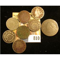 Early 1800 U.S. Large Cent; 1867, 1868, 1869, & 1882/3? U.S. Shield Nickels; 1883 With Cents, 1886,