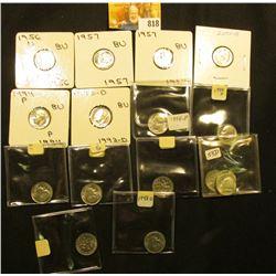 (3) 1955 D, 56D, (2) 57P Silver BU; & (10) Clad BU Roosevelt Dimes.
