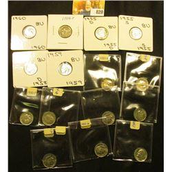 1955D, S, 58D, 59P, & 60P Gem BU Silver & (10) Clad Roosevelt Dimes.