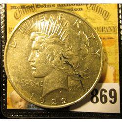 1922 D U.S. Peace Silver Dollar, AU.