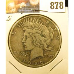 1922 D U.S. Peace Silver Dollar, Fine.