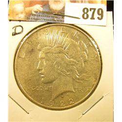1922 D U.S. Peace Silver Dollar, Extra Fine.