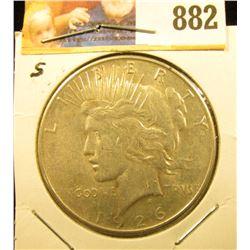 1926 S U.S. Peace Silver Dollar, Extra Fine.