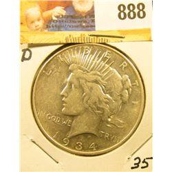 1934 D U.S. Peace Silver Dollar, Extra Fine.