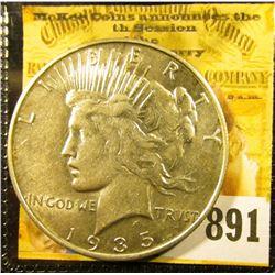 1935 S U.S. Peace Silver Dollar, AU.