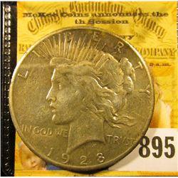 1928 P U.S. Peace Silver Dollar, Extra Fine. Key Date.
