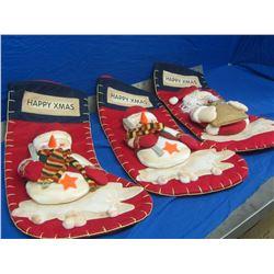 3 new large stockings 2 snowmen& 1 santa