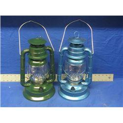"""2 New 14"""" Metal Hurricane LED Lanterns"""