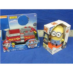 2 new toys / despicable me + paw patrol fire truck