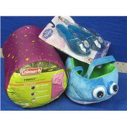New girls sleeping bag / basket and frozen sparkel shoes