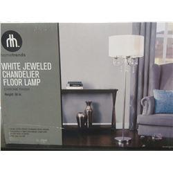 New White jewled chandelier floor lamp