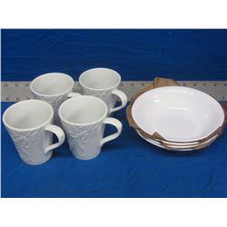 4 new plates and 4 coffee mugs