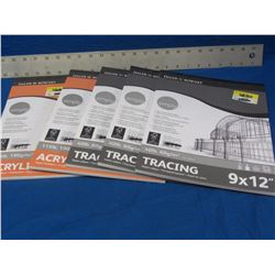 Lot of 5 art paper / 3 tracing and 2 acrylic