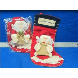Lot of 2 New Santa stockings