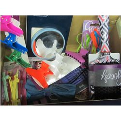 Box of New Goody hair products/ mirror/brush/hair bands/ clips etc.