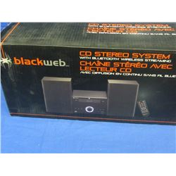New Black web cd stereo system bluetooth wireless streaming