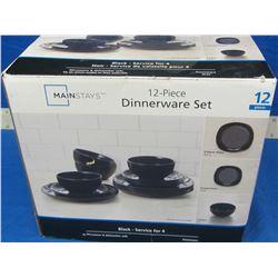 New 12 piece dinnerware set  in black
