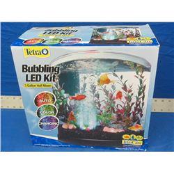 New Tetra bubbling LED 3 gallon half moon fish tank