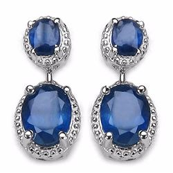 STERLING SILVER BLUE SAPPHIRE DROP EARRINGS