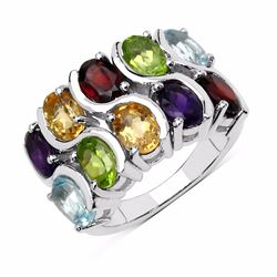 STERLING SILVER MULTI GENUINE STONE RING