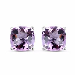 STERLING SILVER PINK AMETHYST CHECKER BOARD EARRING