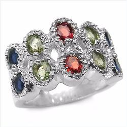 STERLING SILVER MULTI COLOR SAPPHIRE AND DIAMOND RING
