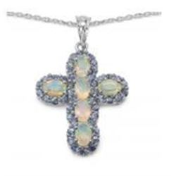 STERLING SILVER ETHIOPIAN OPAL AND TANZANITE CROSS PENDANT