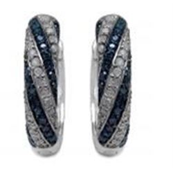 STERLING SILVER BLUE AND WHITE DIAMOND EARRINGS