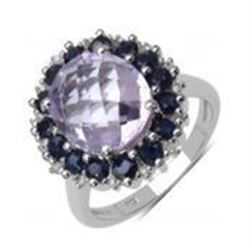 STERLING SILVER PINK AMETHYST  AND SAPPHIRE RING