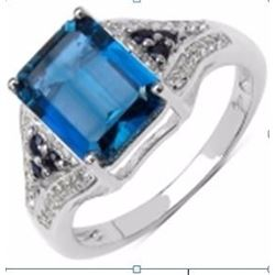 STERLING SILVER LONDON BLUE TOPAZ AND BLUE SAPPHIRE RING