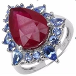 STERLING SILVER RUBY AND TANZANITE RING
