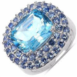 STERLING SILVER BLUE TOPAZ AND TANZNAITE RING