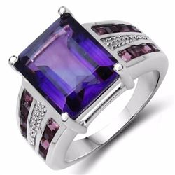 STERLING SILVER AFRICAN AMETHYST AND RHODOLITE RING