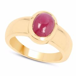 STERLING SILVER CABOCHON RUBY RING