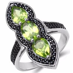 STERLING SILVER PERIDOT AND BLACK SPINEL RING