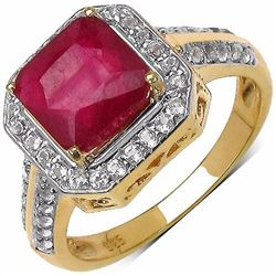 STERLING SILVER OCTAGON RUBY RING