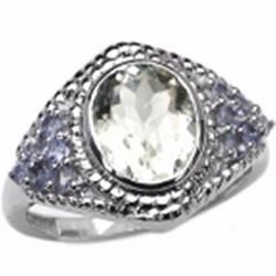 STERLING SILVER GREEN AMETHYST AND TANZANITE RING