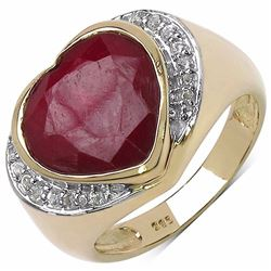 STERLING SILVER HEART SHAPE RUBY RING