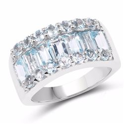 STERLING SILVER BLUE TOPAZ BAGUETTE RING