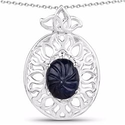 STERLING SILVER BLACK SAPPHIRE CARVIN CABOCHON PENDANT