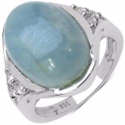 STERLING SILVER CABOCHON AQUAMARINE RING