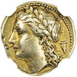 SYRACUSE: Agathokles, 317-289 BC, AV 25 litrae (3.54g). NGC EF