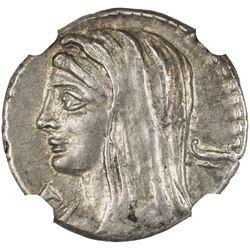 ROMAN REPUBLIC: L. Cassius Longinus, 63 (or 60) BC, AR denarius (3.96g), Rome. NGC EF