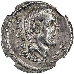 ROMAN REPUBLIC: D. Junius Brutus Albinus, 48 BC, AR denarius (3.58g). NGC EF